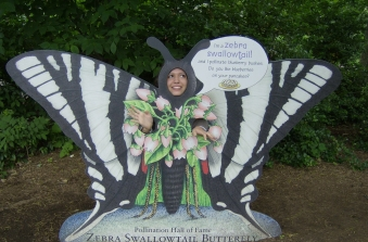 Butterfly face cutout at Bronx Zoo, New York