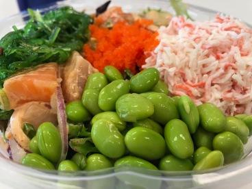 poke bowl, raw fish, edamame, crab, salmon, red onion, seaweed