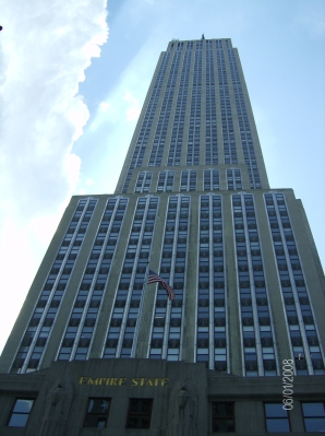 From below the Empire State Building