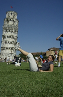 Putting my feet up on Pisa in Field of Miracles in Italy