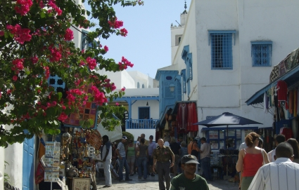 Blue and white with market Sidi Bou Said in Tunisia