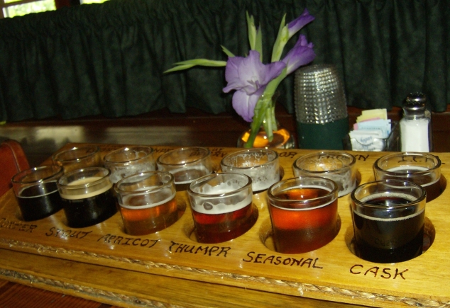 Sea Dog brewery beer samples in Bangor, Maine