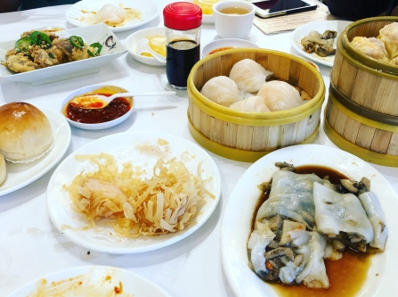 table of dim sum dishes